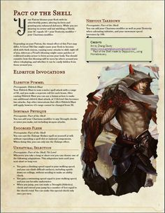 Pact of the Shell Warlock Pact Boon Dungeons And Dragons Races, Dungeons And Dragons Classes, Dungeons And Dragons Homebrew, Dungeons And Dragons Characters, Dnd Characters, Fantasy Character Design, Character Design Inspiration, Character Concept, Warlock Dnd