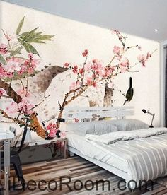 Retro beautiful pink peach tree branches on the bird magpie oil painting effect wall art wall decor mural wallpaper wall IDCWP-000223
