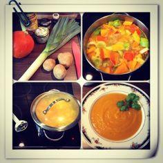 Kürbissuppe - 1 Kürbis, 1 Lauch, 3 Kartoffeln in Kokosöl anbraten mit 1l Gemüsebrühe ablöschen, 30 Min. köcheln lassen, pürieren, mit Salz und Pfeffer würzen.