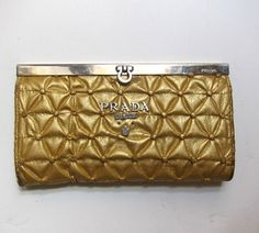 Vintage spectacular unusual quilted gold leather authentic Prada clutch purse wallet