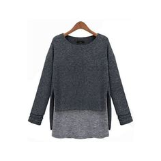 SheIn(sheinside) Grey Long Sleeve Contrast Asymmetrical Loose T-Shirt ($14) ❤ liked on Polyvore featuring tops, t-shirts, grey, gray long sleeve t shirt, loose t shirt, asymmetrical top, color block tee and loose fit t shirts