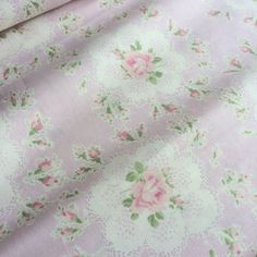 Fat Quarter- Sixty-eight Collection by YUWA - Vintage rose / flowers in light lavender background- Made in Japan- Cotton