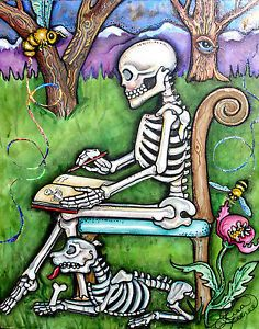 Lisa-Luree-art-Original-Day-of-the-Dead-SKELETON-DOG-painting-journal-Honeybees