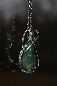 Bloodstone Necklace Silver Plated Wire Wrapped by AmberellaGems, $13.50