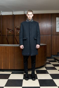 MEI KAWA | Midnight Blue Bomber Collar Wool Overcoat