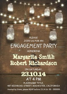 Engagement invitation templates free download places to visit wood engagement invitation card rustic mason jars lights stopboris Gallery