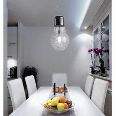 Lámpara Bombillón 1 Luz. Bombilla gigante para el techo. La colección de lámparas en forma de bombilla se completa con las versiones en 4 y 6 luces, la lámpara de sobremesa y un aplique. Ceiling Lights, Lighting, House, Home Decor, Shape, Hanging Lamps, Ceiling Light Fixtures, Bulbs, Home Decoration