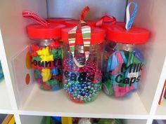 loving this idea to repurpose pb jars for small plaything storage!  good tips on organizing playroom