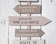 panneau de direction personnalisable avec flèches, tableau en bois de palette shabby chic
