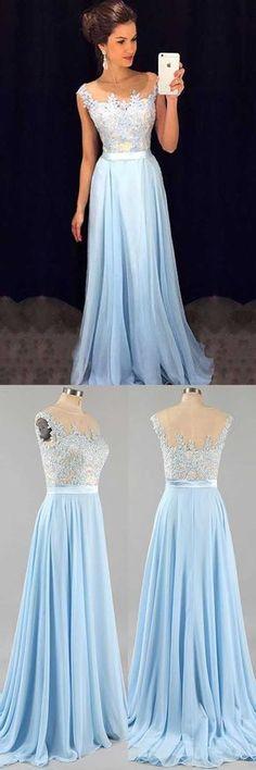 Charming Prom Dress,Long Prom Dress,Blue Chiffon Homecoming Dress,Lace