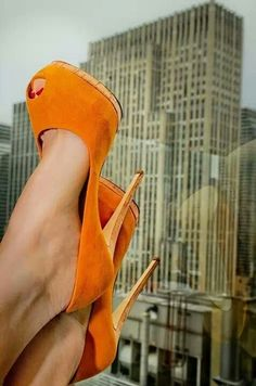 Love shoes, love orange! Perfect combination. | 25 Of The Orangey-Ist Orange Things