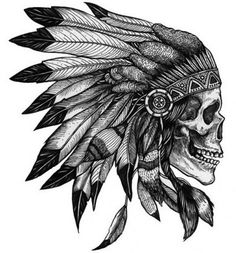 Native American Skull - Temporary tattoos
