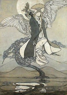 "Ghost Dramas, Dance of the Angel from the Moon, Bertha Lum, 1925. Amaunet is an ancient Egyptian Goddess of Air or Wind, Whose name means ""She Who is Hidden"", ""The Invisible One"" or ""That Which is Concealed"". She is one of eight primaeval Deities Who existed before the beginning of the world, and Who together made up the primordial ocean."