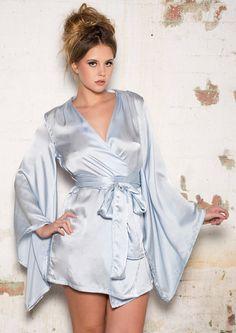 LIVIA  Silver Blue silk kimono Robe  with heart cut out- light blue sleepwear lingerie