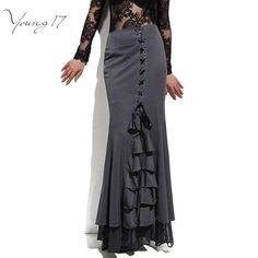 Young17スカートロングフリル女性セクシーフィッシュコルセットレースアップスリム床の長さヴィンテージトランペットセクシーなゴシックスタイルマーメイドスカート