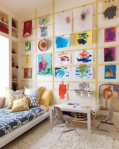 Kids art display wall//Repinned via Decorget