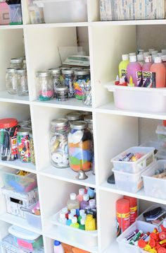 One Crafty Mom's Quest to Organize Her Art Supplies - Meri Cherry. How to organ. One Crafty Mom's Quest to Organize Her Art Supplies – Meri Cherry. How to organize art supplie Arts And Crafts For Teens, Arts And Crafts Projects, Space Crafts, Arts And Crafts Supplies, Craft Space, Art Supplies Storage, Art Storage, Craft Room Storage, Organize Art Supplies