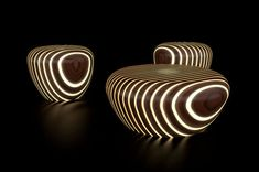 Unique and eye-catching, Bright Woods' collection of illuminated chairs and coffee tables designed by Giancarlo Zema