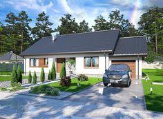 Projekt domu parterowego Tamara modern o pow. 111,42 m2 z garażem 1-st., z dachem dwuspadowym, z tarasem, sprawdź! Sims House, Small House Plans, House Layouts, Home Fashion, Modern, Construction, Cabin, Architecture, House Styles