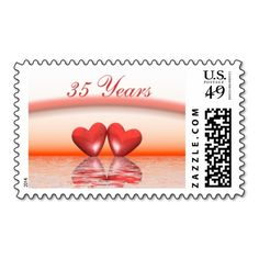 35th Anniversary Coral Hearts Stamp
