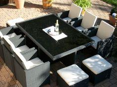 Amazing Polyrattan Rattan Geflecht Garten Sitzgruppe Toscana XL in schwarz Tisch Sessel Hocker
