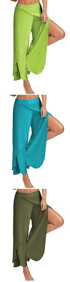 US$ 16.99 Women Casual Loose Solid Color Elastic Waist Slit Wide Leg Pants