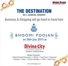 ‪#‎DivineCity‬ ‪#‎TheDestination‬ ‪#‎Ganaur‬ ‪#‎Sonepat‬ http://www.divinegoc.com/divine-city/divine-city-feature.php