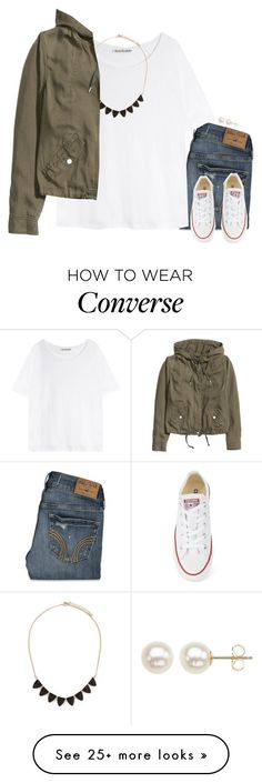 """Casual in Converse"" by gourney on Polyvore featuring Hollister Co., Converse, Honora, Acne Studios, Forever 21, H&M and converse"