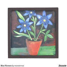Blue Flowers Premium Jewelry Boxes #Flowers #Blue #Fashion #Box #Trinket #Gift #Keepsake #Jewelry