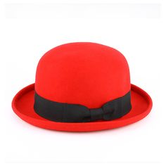 Patricia Field Bowler Hat ❤ liked on Polyvore featuring accessories, hats, sombreros, red, bowler hat, vintage style hats, red bowler hat, red hat and red derby hat