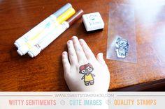 Sweet DIY Washable tattoos by designer Meredith Ensell using the Sweet Stamp Shop Super Boy stamp set #ssssuperboy