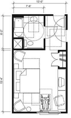 Ada Bathroom Sinks | This drawing shows an accessible 13-foot wide guest room with features ...