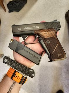 An H&K P7    It amazes me that people actually use and trust this gun to protect their lives. I'm not saying this to bash, I'm saying it because I think it's cool. Modern guns like Glock, Sig Sauer, and so on... but an old and rare H&K that was made in 1976? Impressive. I hope some day I'll be able to pick up one myself.   They aren't in production anymore, but if you find em, get it.