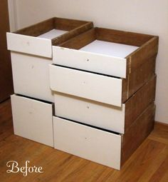 DIY Modular Bookcase Of Salvaged Drawers | Shelterness