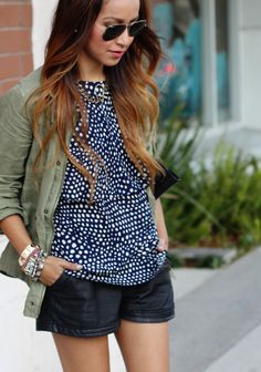 hi-imkatie:        Blouse: Tibi ( from Bib + Tuck) // Jacket: Volcom (cool one here) // Leather shorts: Kill City (cute oneshere & here)  // Sneakers: Converse // Sunglasses:Ray Bans // Bag: Alexander Wang // Necklace: Luv AJ