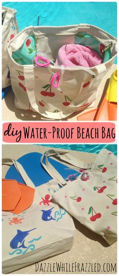 Turn any canvas tote bag into a water proof swim or beach bag in a few simple steps. No more wet bags following a day at the pool or beach. No advanced sewing skills required!