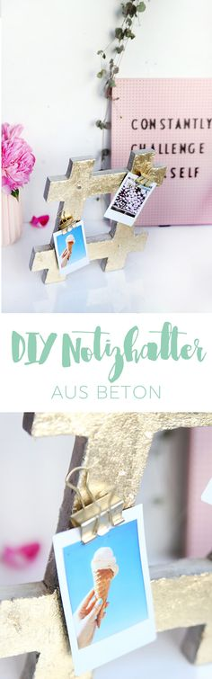 Kreative DIY Deko Idee zum Selbermachen: Notizhalter in Hashtag-Form aus Beton gießen und mit Blattgold verzieren | DIY Geschenk | DIY Tutorial | DIY Anleitung