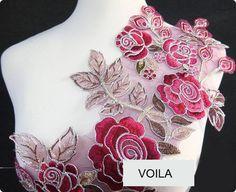 Très grande dentelle brodé rouge vert. Polyester. Idéale pour couture , ect. L151  Dimension : approx. 26.5 x 67.3cm  Quantité : 1pc  Livraison: 2-4 semaines. Veuillez li - 7366234
