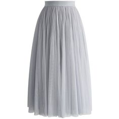 Chicwish Ethereal Tulle Mesh Midi Skirt in Grey (1.078.290 VND) ❤ liked on Polyvore featuring skirts, grey, calf length skirts, gray midi skirt, grey midi skirt, tulle skirt and mesh midi skirt