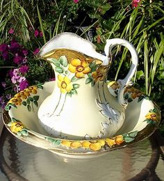 Antique Wheeling Pottery La Belle China Ylw Floral Chamber Pitcher Basin Bowl
