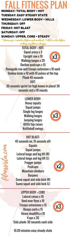 Fall Fitness Plan! A full workout plan balancing strength cardio flexibility and rest. It's easy to drop the fitness routine during the frantic holiday season and this balanced plan provides lots of options you can do quickly at home.