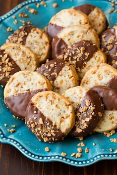 Chocolate Dipped Toffee Pecan Shortbread Cookies | Cooking Classy