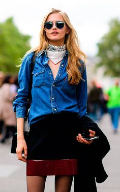 Street style look com camisa jeans.