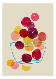 Kitchen Art print - Plums - Summer Fruit Art / high quality fine art print Madly in love with all of Anek's prints! L'art Du Fruit, Fruit Art, Fresh Fruit, Fruit Salad, Gravure Illustration, Illustration Art, Ideas Scrap, Illustration Botanique, Colorful Fruit