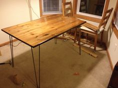 My Ikea Jokkmokk table gets an urban industrial update! Refinished the top and added a set of new table legs.