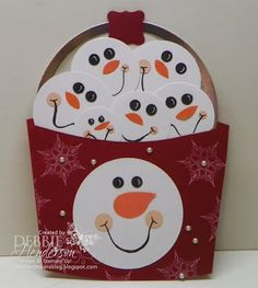 Punch Art bucketful of snowballs. Create with Stampin' Up! Circle Framelits by Debbie Henderson, Debbie's Designs Christmas Paper Crafts, Christmas Tag, Christmas Projects, Paper Punch Art, Punch Art Cards, Tarjetas Stampin Up, Stampin Up Cards, Xmas Cards, Holiday Cards