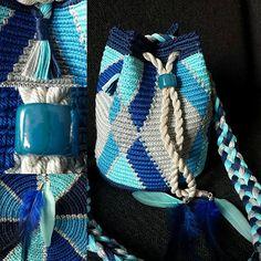 MINI Blue-zilver Tapestry Crochet, Crotchet, Bucket Bag, Tote Bag, Purses, Boho, Knitting, Pattern, Squares