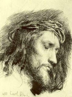 Carl Heinrich Bloch - Danish artist 1834 - 1890: Portrait of Christ