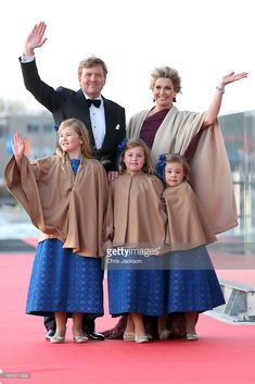 King Willem Alexander; Queen Maxima and their daughters Princess Catharina-Amalia; Princess Alexia and Princess Ariane of The Netherlands arrive at the Muziekbouw following the water pageant after the abdication of Queen Beatrix of the Netherlands and the Inauguration of King Willem Alexander of the Netherlands on April 30, 2013 in Amsterdam, Netherlands.