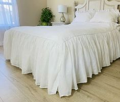 White sheer linen voile bedspread with lining is a fairly tale dream. This bedspread is handmade with attention and care. The matching pillow cases with sheer ruffles add additional substance and warmth to your living space. Farmhouse Style Bedrooms, Farmhouse Bedroom Decor, Country Farmhouse Decor, Country Living, Kitchen Sink Design, White Bedding, White Bedroom, Linen Bedding, Bedding Sets